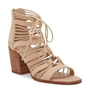 Vince Camuto Kaiann Suede Caged Block Heel Sandal